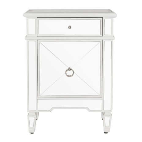 CLAUDETTE WHITE BEDROOM SIDE TABLE