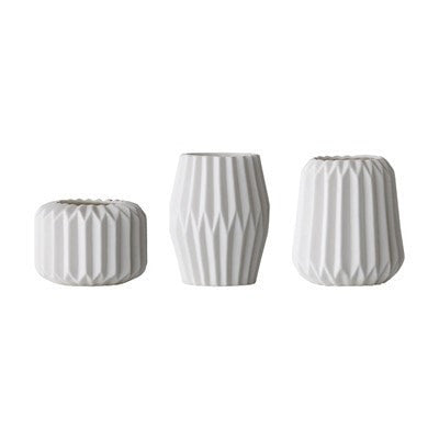 WHITE MINI FLUTED VOTIVES