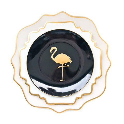 FLAMINGO BLACK AND GOLD SALAD PLATE