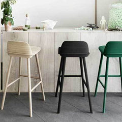 BLACK LILA WOOD STOOL