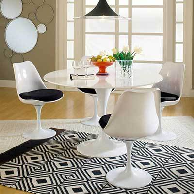 WHITE ROUND TULIP TABLE