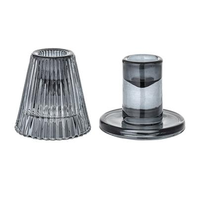 GREY GLASS CANDLESTICKS (SET OF 2)