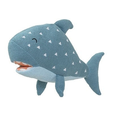 KNITTED SHARK TOY BLUE