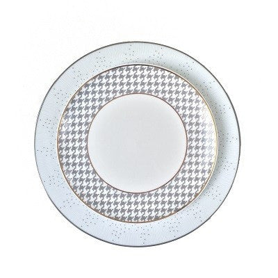 GREY HOUNDSTOOTH SALAD PLATE