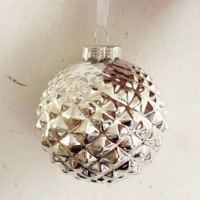 SILVER TEXTURED ORNAMENT