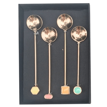 SET OF 4 GEO TEASPOONS