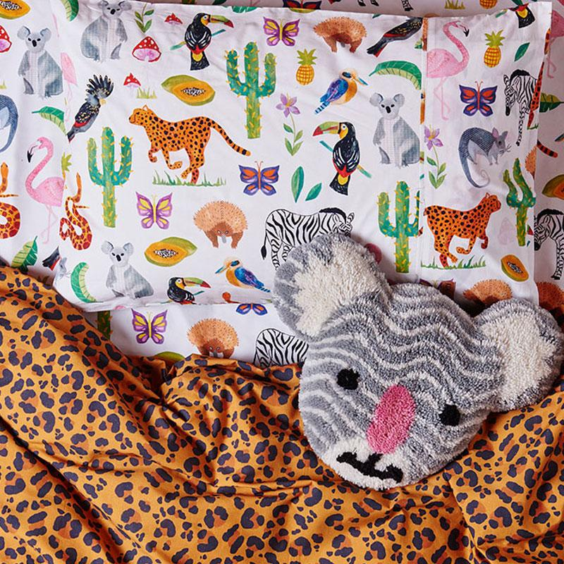 IN THE JUNGLE COTTON PILLOWCASE SINGLE