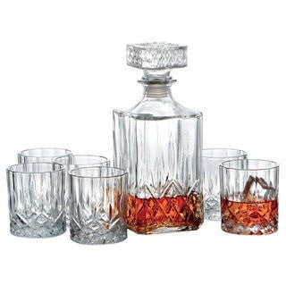 CRYSTAL DECANTER AND 4 GLASS SET