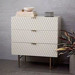 WHITE RETRO CHEST OF DRAWERS