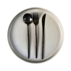 BLACK MODERN CUTLERY SET