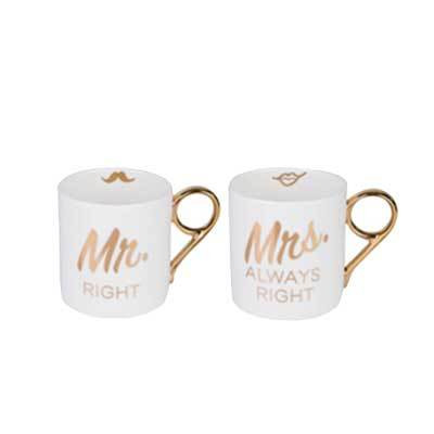 MR & MRS RIGHT MUGS (SET OF 2)