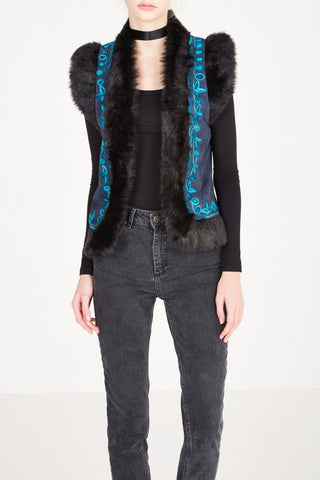 Indian faux fur trimmed suede vest