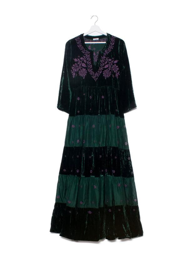 Indian silk velvet embroidered maxi dress
