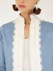 Morocco linen embroidered coat jacket handmade
