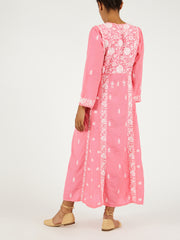 Indian silk embroidered pink dress