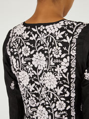 Indian silk embroidered black dress