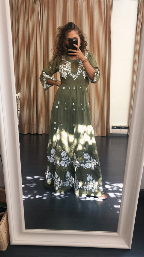 Indian cotton embroidered green dress