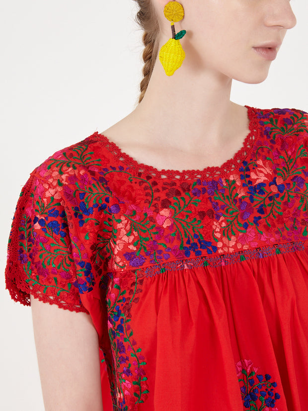 Mexican san antonino dress hand embroderied handmade mexico