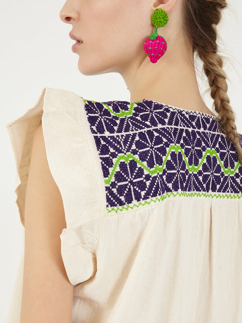 Colombian Iraca palm Strawberry earrings