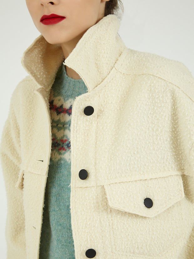 Casentino wool over jacket bomber made in Italy