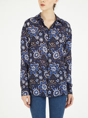 Amoli satin silk block print shirt indian