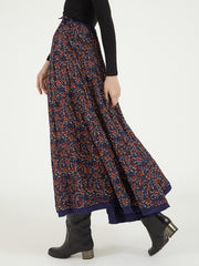 Indian block print silk Maharani skirt