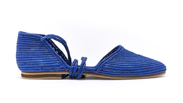 Moroccan raffia lace up flat shoes