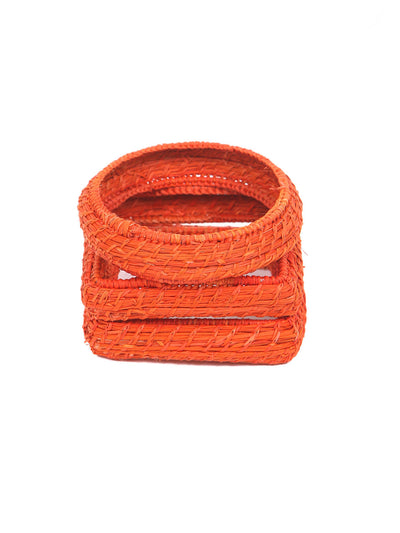 Colombian iraca palm bangles set bracelet orange