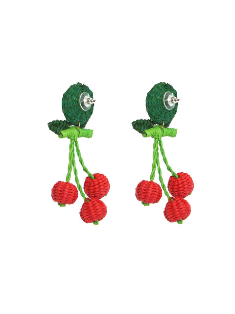 Colombian Iraca Palm cherry earrings handmade