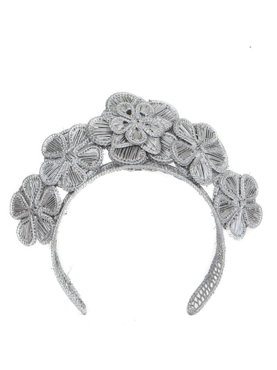 Colombian iraca palm headpiece silver handmade crown