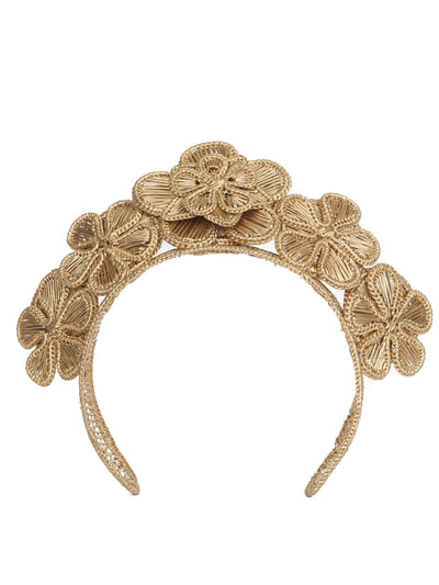 Colombian iraca palm headpiece gold handmade crown