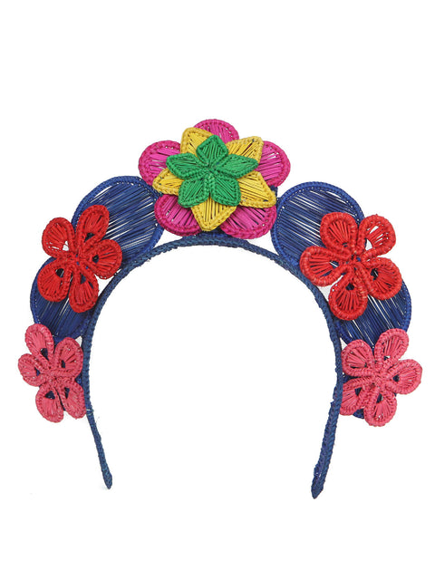 Colombian iraca palm headpiece multi color handmade crown