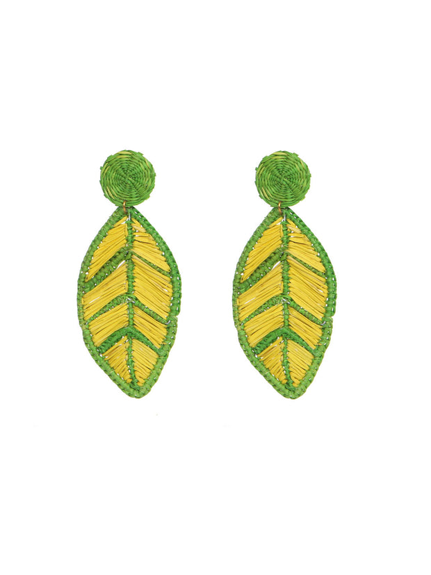 Colombian Iraca Palm leaf earrings handmade orecchini palma foglie fatto a mano fairtrade