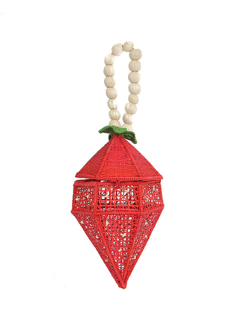 Colombian iraca palm strawberry bag handmade