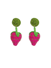 Colombian Iraca Palm strawberry earrings handmade