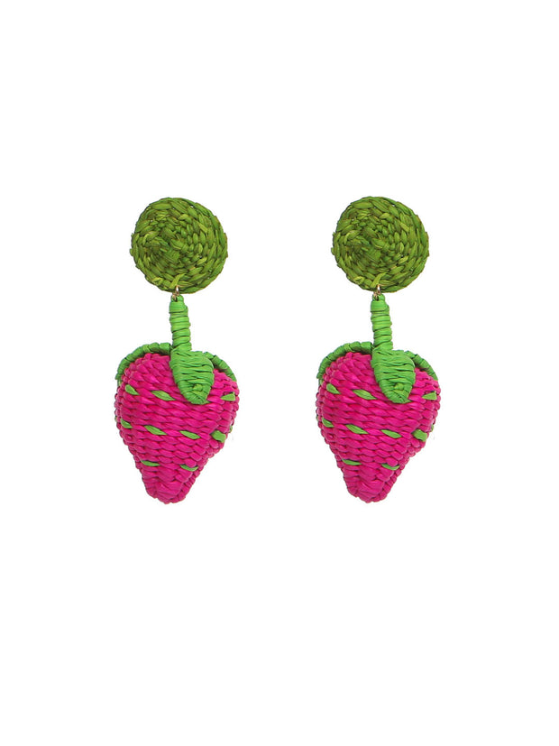 Colombian Iraca Palm strawberry earrings handmade fragole orecchini fatto a mano fairtrade palma paglia rattan