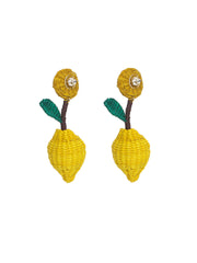 Colombian Iraca Palm lemon earrings handmade