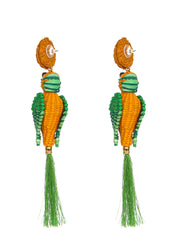 Colombian Iraca Palm Parrot earrings handmade