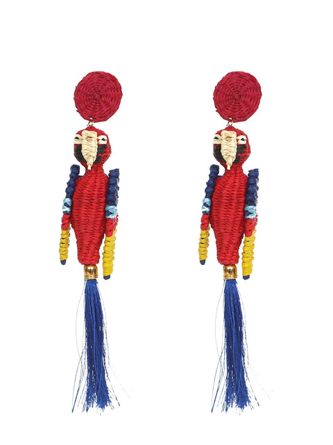 Colombian Iraca Palm Parrot earrings handmade pappagallo paglia rattan palma fatto a mano colombia fairtrade