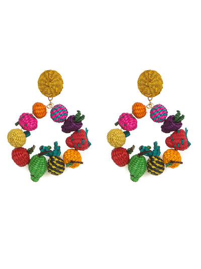 Colombian Iraca Palm fruits earrings handmade