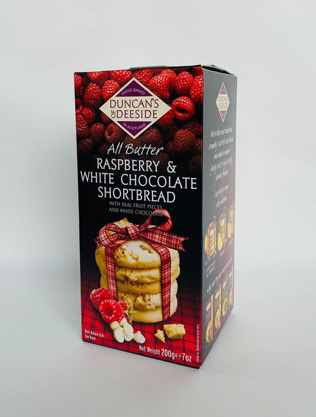 DUNCAN'S OF DEESIDE RASPBERRY & WHITE CHOCOLATE SHORTBREAD - 200G