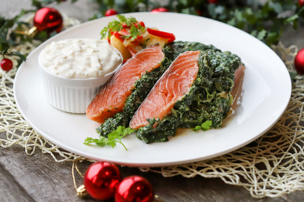 46. NORWEGIAN SALMON FILLET WITH CREAMED SPINACH, POTATO AND ESCABECHE, WHITE ONION SAUCE (SERVE 4-6 PAX)