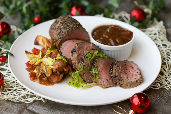 44. ROAST US GRAIN FED ANGUS BEEF TENDERLOIN WITH ROAST POTATO & CARAMELISED ONION, BLACK TRUFFLE SAUCE (SERVE 4-6 PAX)