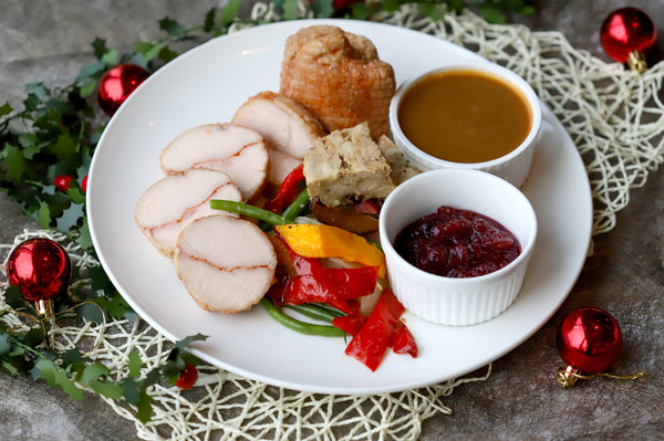 47. LOIN OF TURKEY BREAST WITH SWEET CORN BREAD STUFFING, CRANBERRY & BROWN SAUCES, WINTER VEGETABLES