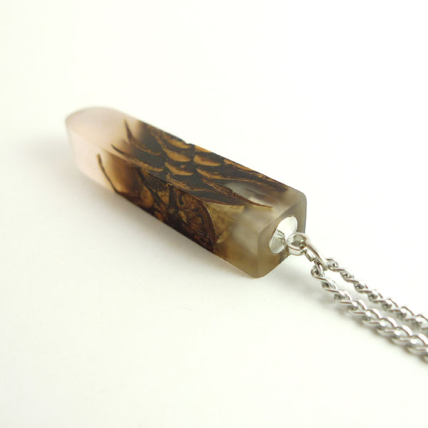 Clear Bioresin pinecone necklace, sustainable jewelry - Hidden Garden jewelry  - 2