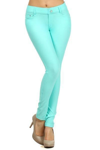 Women's Classic Solid Skinny Jeggings