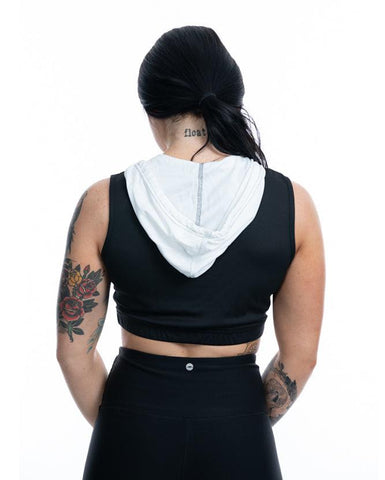 "Image of ""Twisted Gear"" - Women's Sleeveless Crop Top Hoodie"
