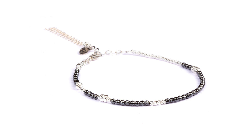 Abby Facet Hematite -  Silver