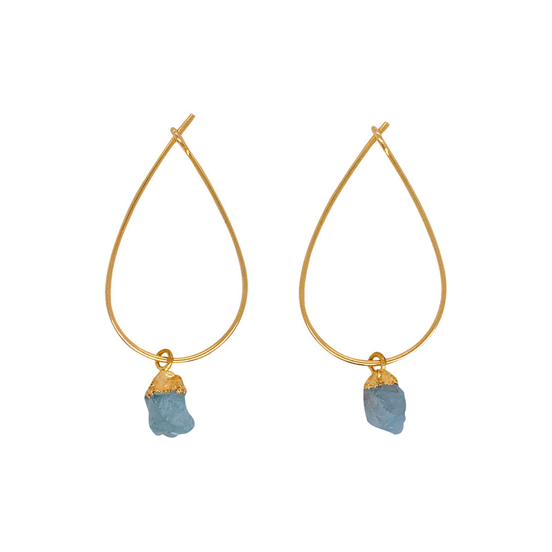 Alicia Aquamarine Earrings - Gold