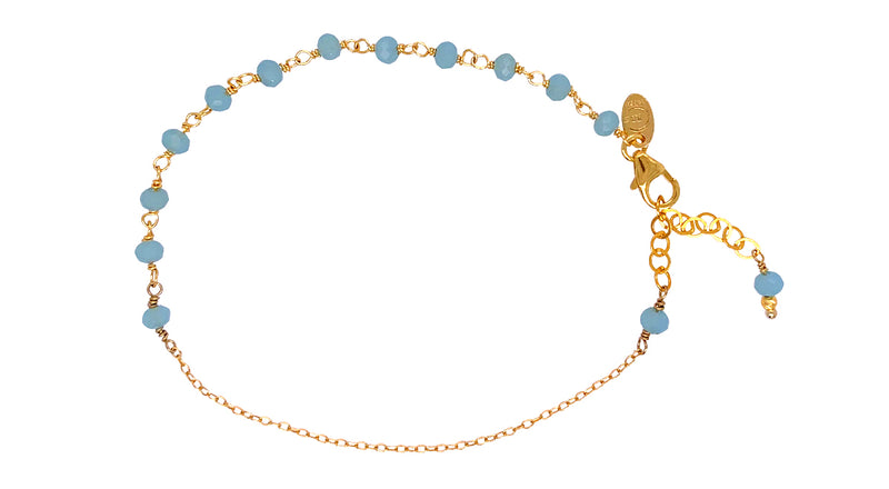 Anne Blue Aquamarine Bracelet - Gold